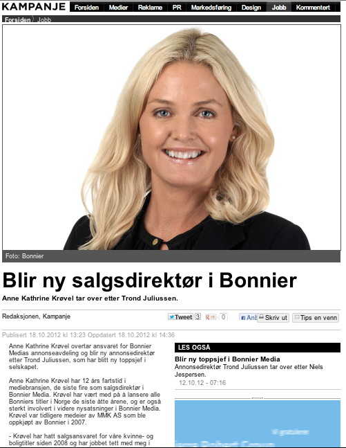 Ny annonsedirektør i Bonnier Media