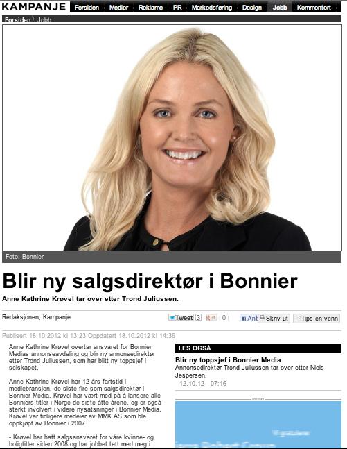 Ny annonsedirektør i Bonnier Media